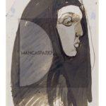 Giuseppe-Biasi,-testa-di-donna-con-scialle,-inchiostro-acquerellato,-12x22cm