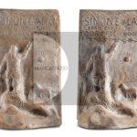 """Simeone Lai, Fermalibri (1935) terracotta da stampo incisa e dipinta """"a freddo"""" con vernici sintetiche e china, h.19 cm."""
