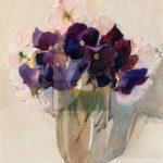Stanis Dessy, Viole, Acquerello su carta, 1946, 35x25cm