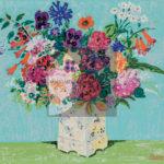 Felicita Frai, Vaso di fiori, Litografia con intervento su tela, 1970, 39x46cm