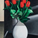 Bachis, Red Tulips, Acrilico su carta, 2018, 42x30cm